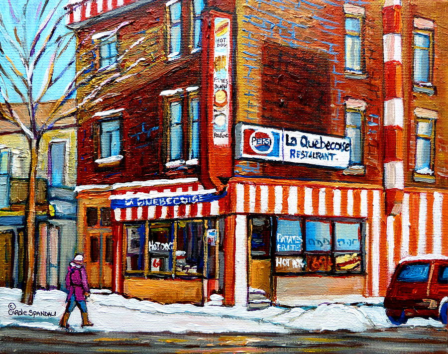 Montreal Painting - La Quebecoise Restaurant Montreal by Carole Spandau