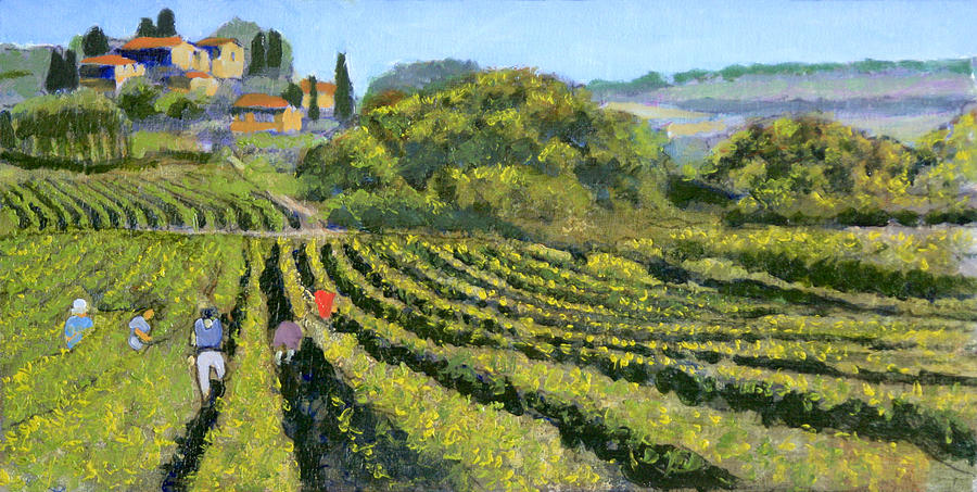 Grapes Painting - La Raccolte Delle Uva by David Zimmerman