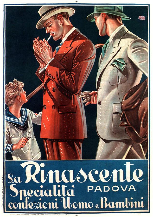 LA RINASCENTE vintage FASHION AD POSTER italy 1930 24x36  hot new COLLECTORS
