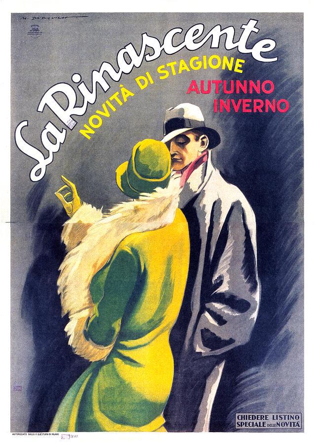 La Rinascente - Novita Di Stagione - Vintage Fashion Advertising Poster - Fall Winter Collection Mixed Media