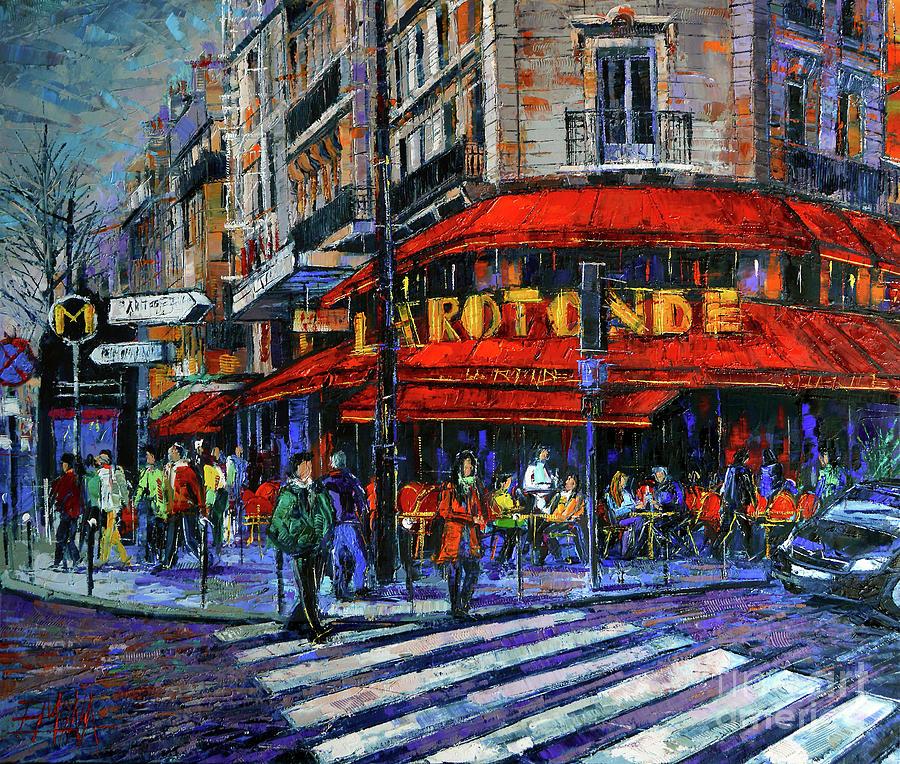Paris Painting - La Rotonde Paris Modern Impressionist Palette Knife Oil Painting by Mona Edulesco