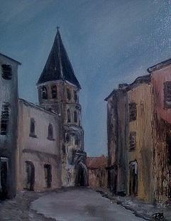 La rue de leglise Painting by Patrice Brunet