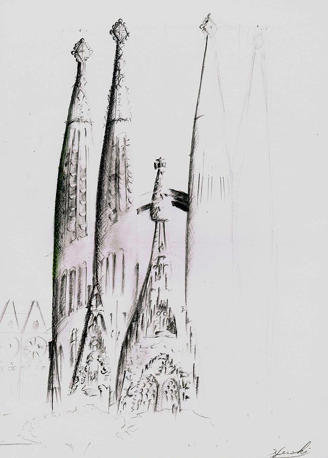 Sagrada Familia Drawing - La Sagrada Familia by Hiroki Uchida
