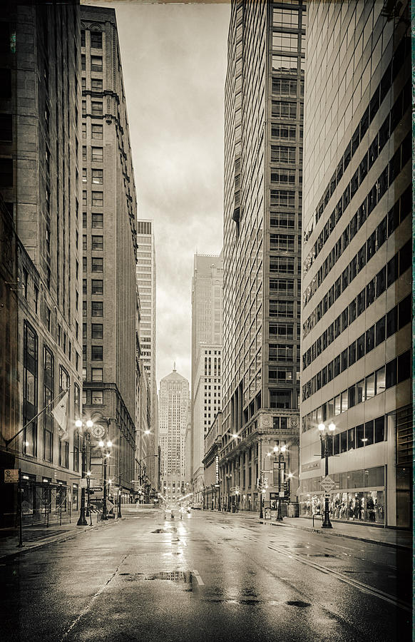 Windy Photograph - Lasalle Street Canyon With Chicago Board Of Trade Building At The South Side - Chicago Illinois by Silvio Ligutti