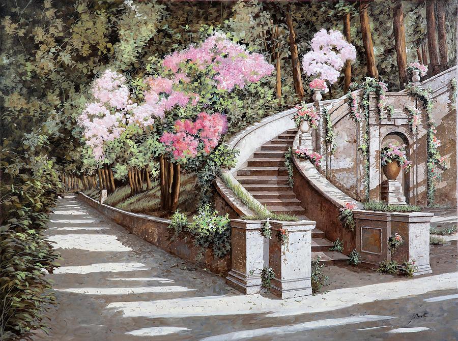 Stairs Painting - La Scalinata E I Fiori Rosa by Guido Borelli