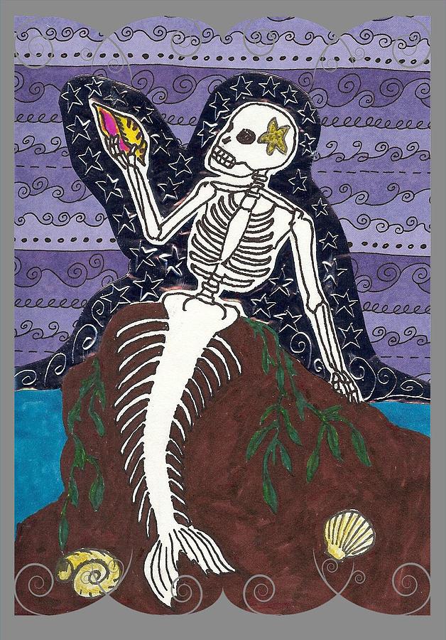 Mermaid Drawing - La Sirena by Laurie Silva