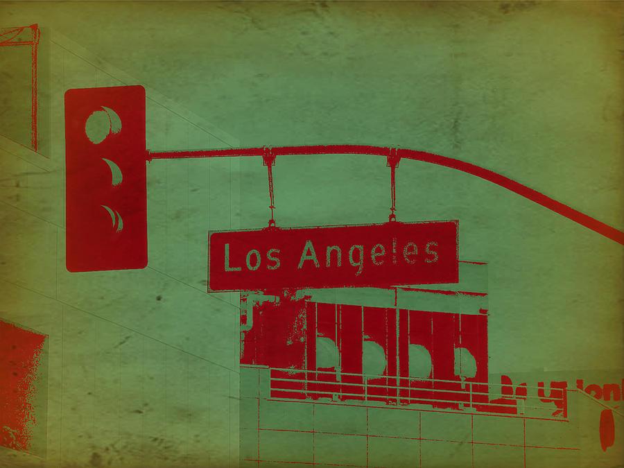 Los Angeles Street Photograph - La Street Ligh by Naxart Studio