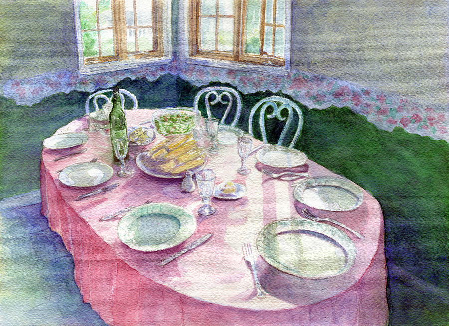Kitchen Table Painting - La Table De Fernande by Lucie Mizutani