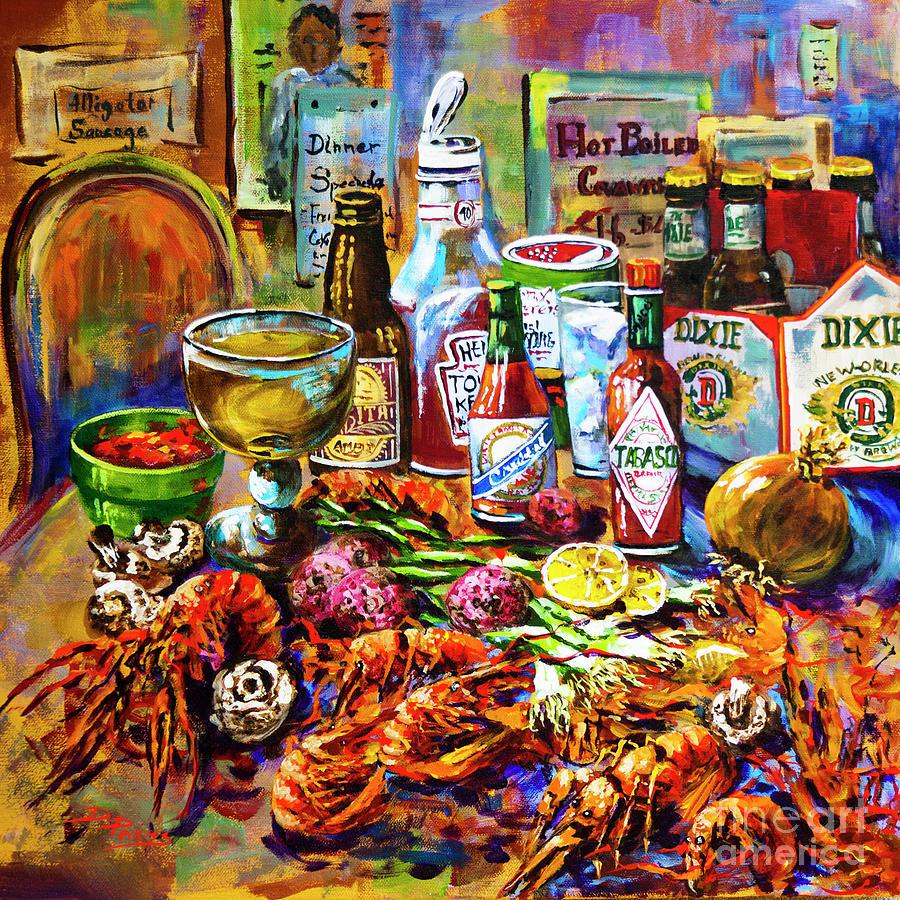 Louisiana Seafood Painting - La Table de Fruits de Mer by Dianne Parks