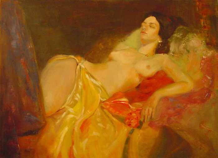Semi Nude Painting - La Traviata Resting by Irena  Jablonski