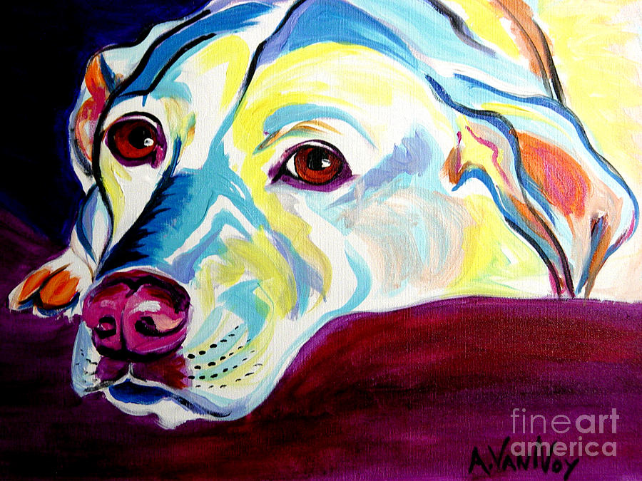 Dog Painting - Lab - Luna by Alicia VanNoy Call
