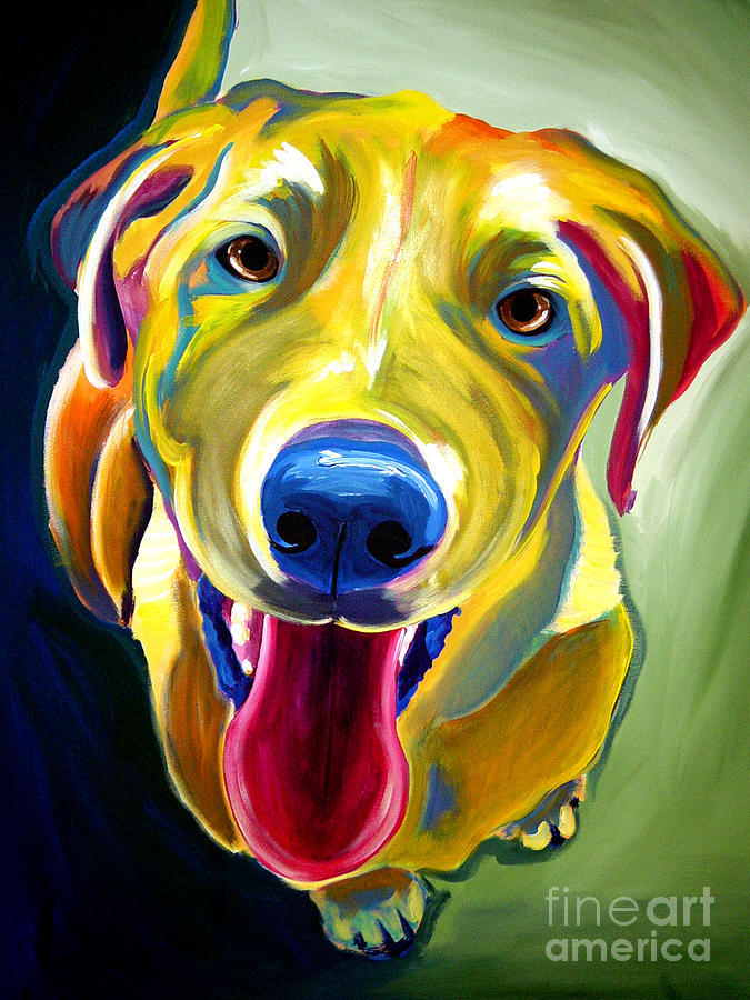 Dog Painting - Lab - Spencer by Alicia VanNoy Call