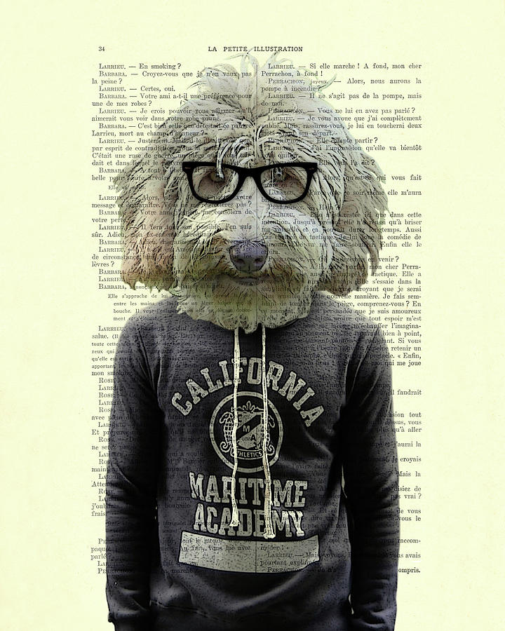 Labradoodle Digital Art - Labradoodle Dog Portrait Art by Madame Memento