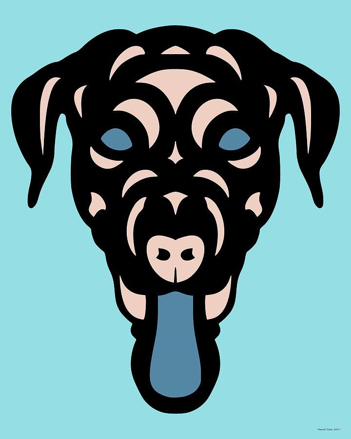 Labrador Dorianna - Dog Design - Island Paradise, Pale Dogwood,  Niagara Blue by Manuel Sueess