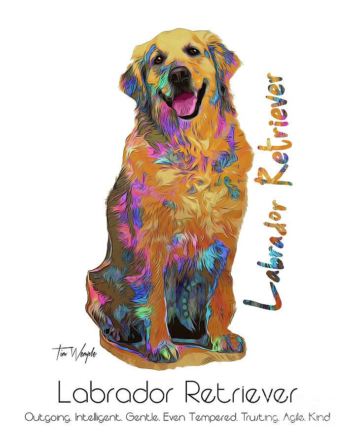 Labrador Digital Art - Labrador Retriever Pop Art by Tim Wemple