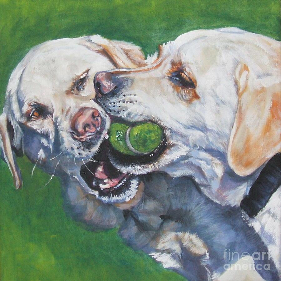 Dog Painting - Labrador Retriever Yellow Buddies by Lee Ann Shepard