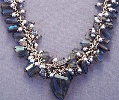Necklace Jewelry - Labradorite And Pearl Fringe Necklace by Mirinda Kossoff