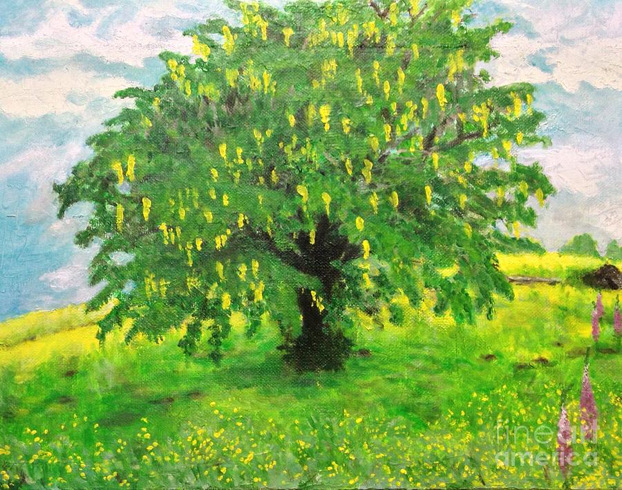 Japanese Artist Painting - Laburnum Tree In Splendid Isolation by Sawako Utsumi