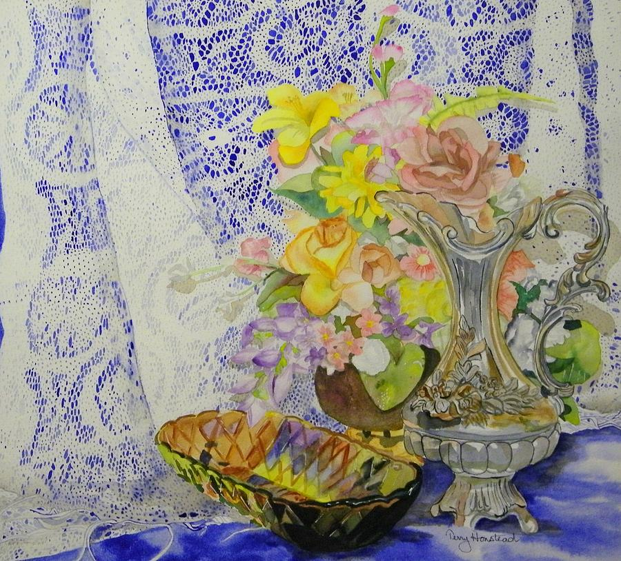 Still Life Painting - Lace And Flowers by Terry Honstead