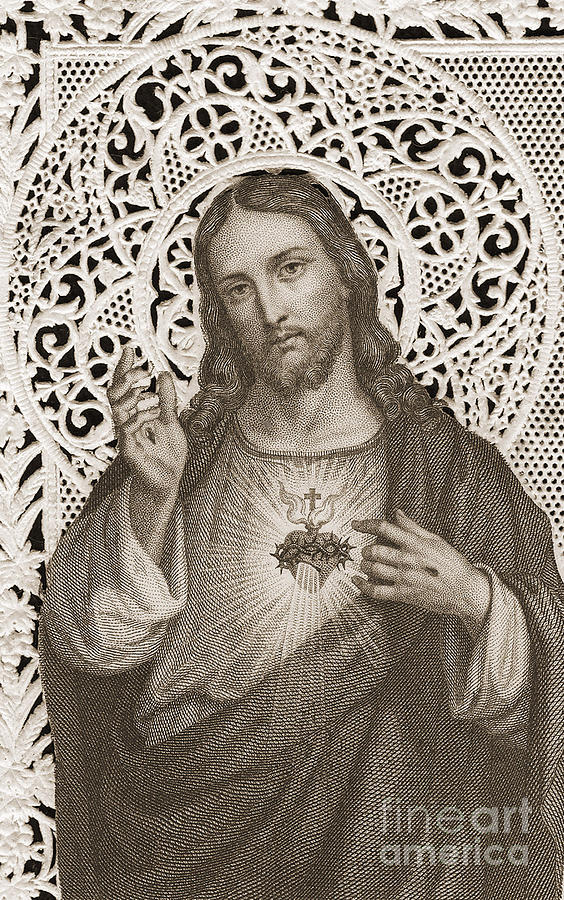 Lace Card Depicting The Sacred Heart Of Jesus