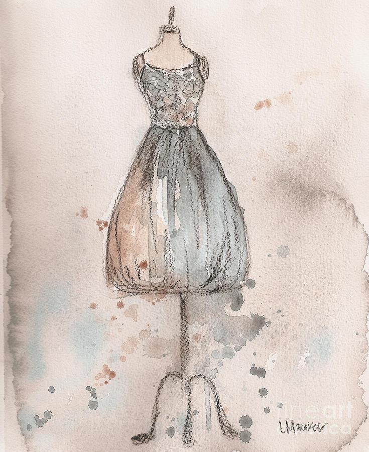 Vintage Dress Painting - Lace Champagne Dress by Lauren Maurer