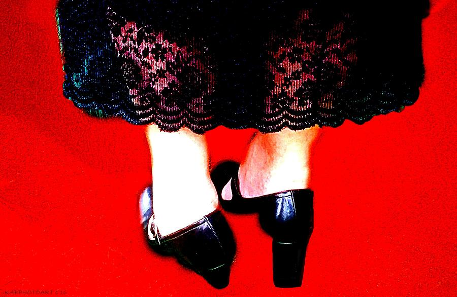 Lace Photograph - Lace Dress Uneven Heels by Kathy Barney