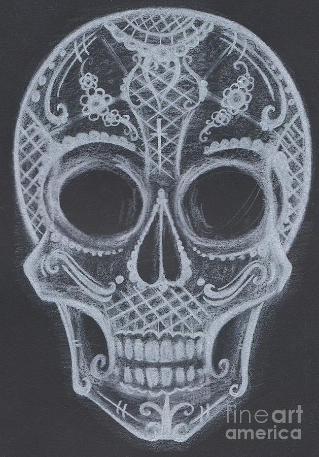 Drawing Drawing - Lace Sugar Skull by Kelly Gannon