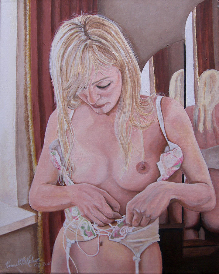Nude Painting - Lacing Corset by Kenneth Kelsoe