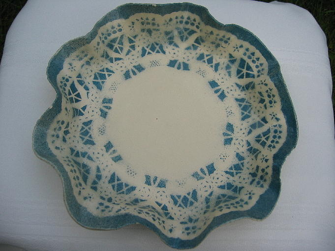 Blue Ceramic Art - Lacy Platter by Julia Van Dine