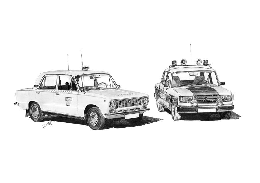 Lada Drawing - Lada Vaz 21011 Taxi 2107 Police by Gabor Vida