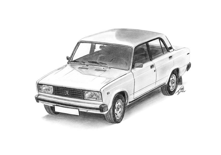 Lada Vaz 2105 Drawing By Gabor Vida