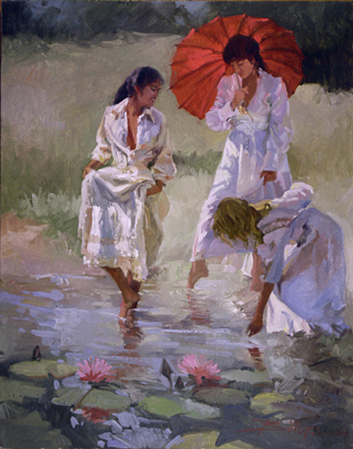 Figurative Painting - Ladies And Lilies by Betty Jean Billups