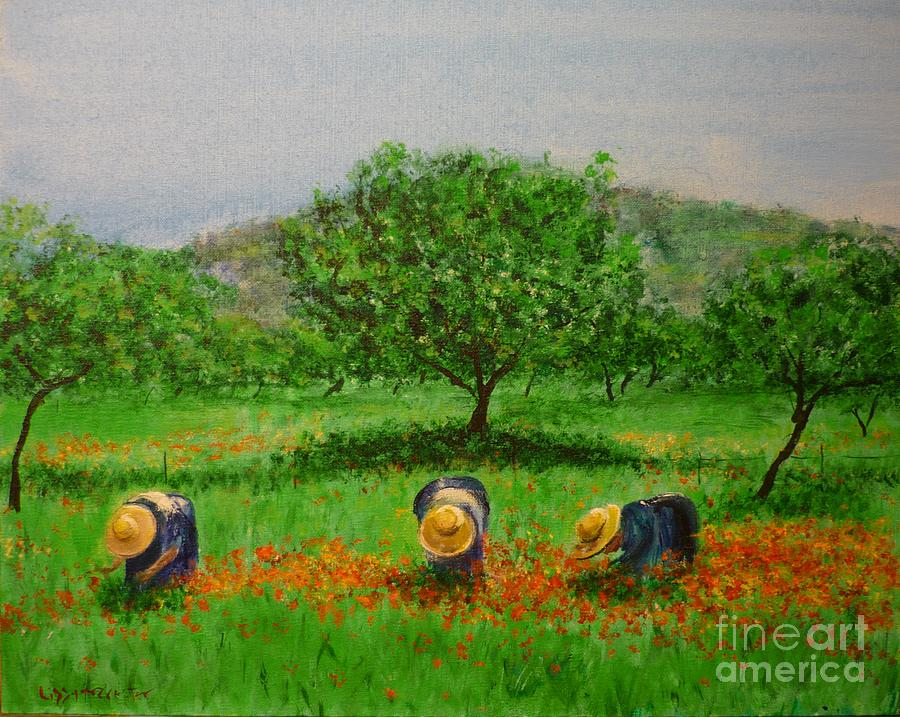 Poppy Painting - Ladies In Poppy Fields Ibiza by Lizzy Forrester