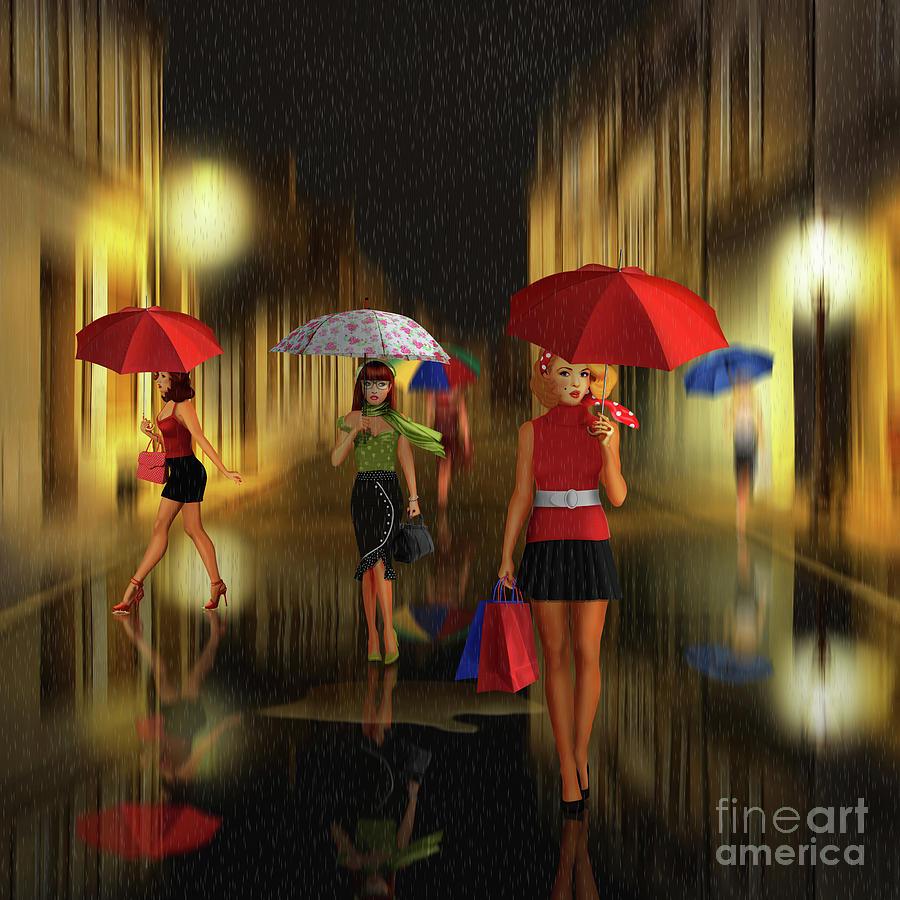 Ladies shopping night in the rain by Monika Juengling