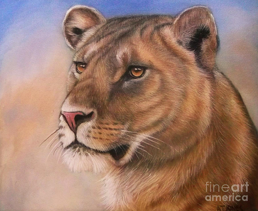 Lioness Painting - Lady by Adrian Jones