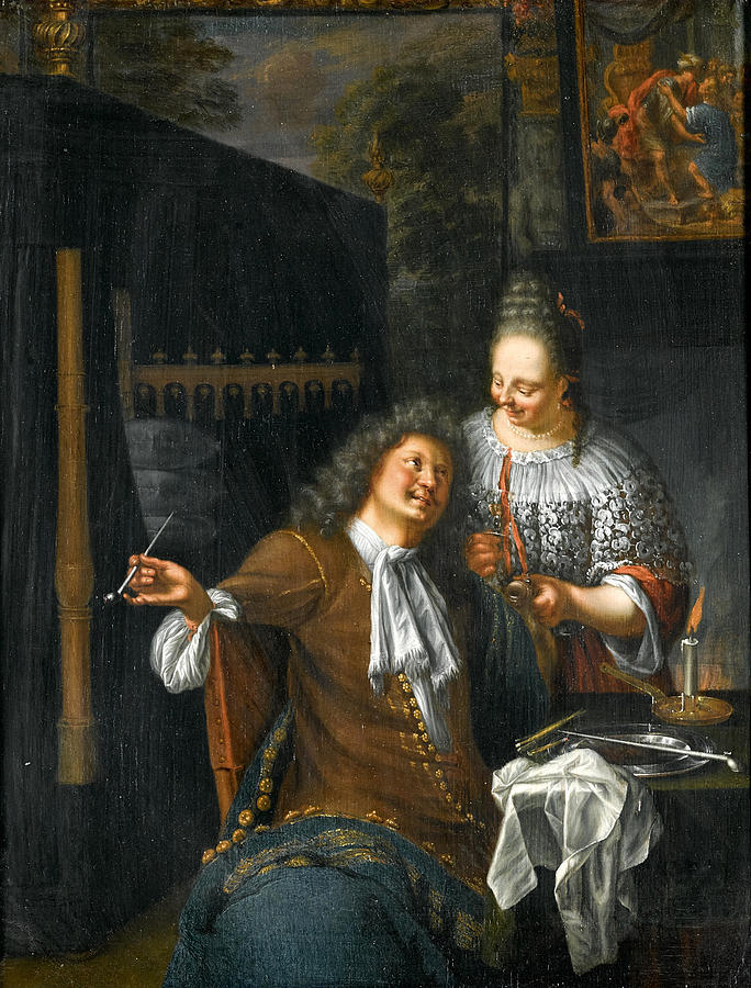 Blond Girl Painting - Lady And Cavalier by Frans van Mieris the Younger
