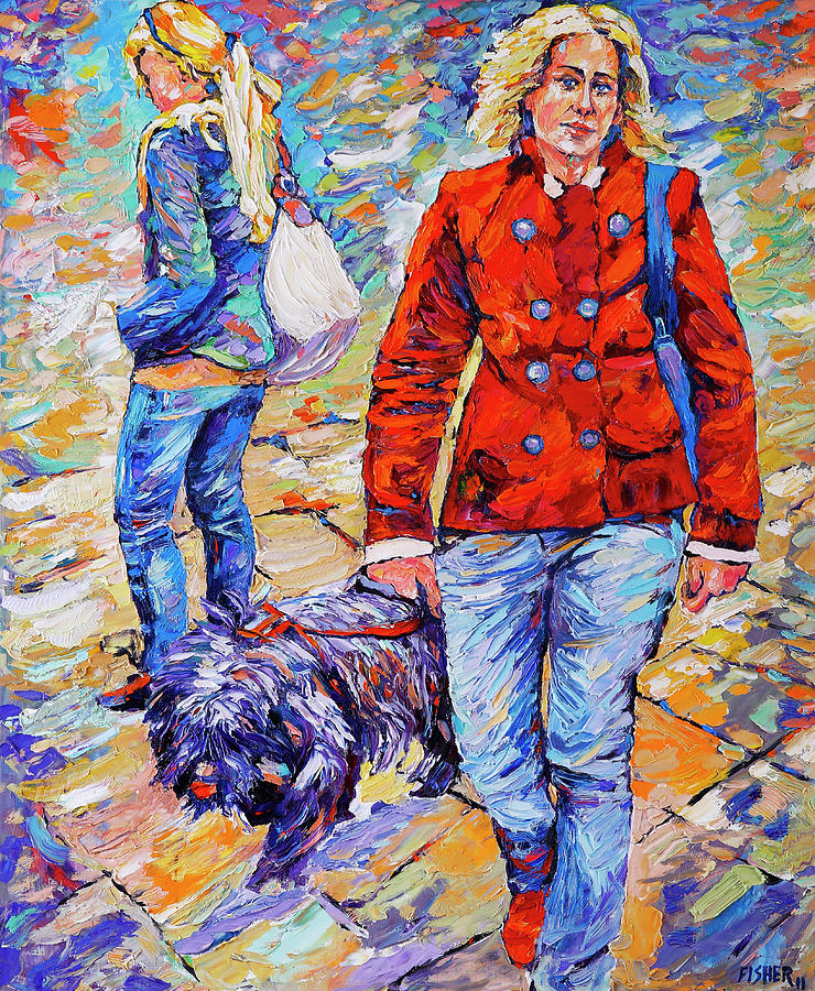 Oil Painting Painting - Lady  And Dog by Abraham  Fisher