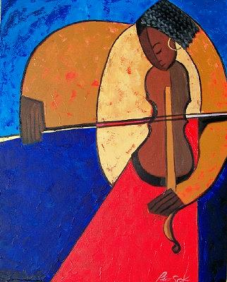 Abstract Painting - Lady And Violin  by Peter Sparks