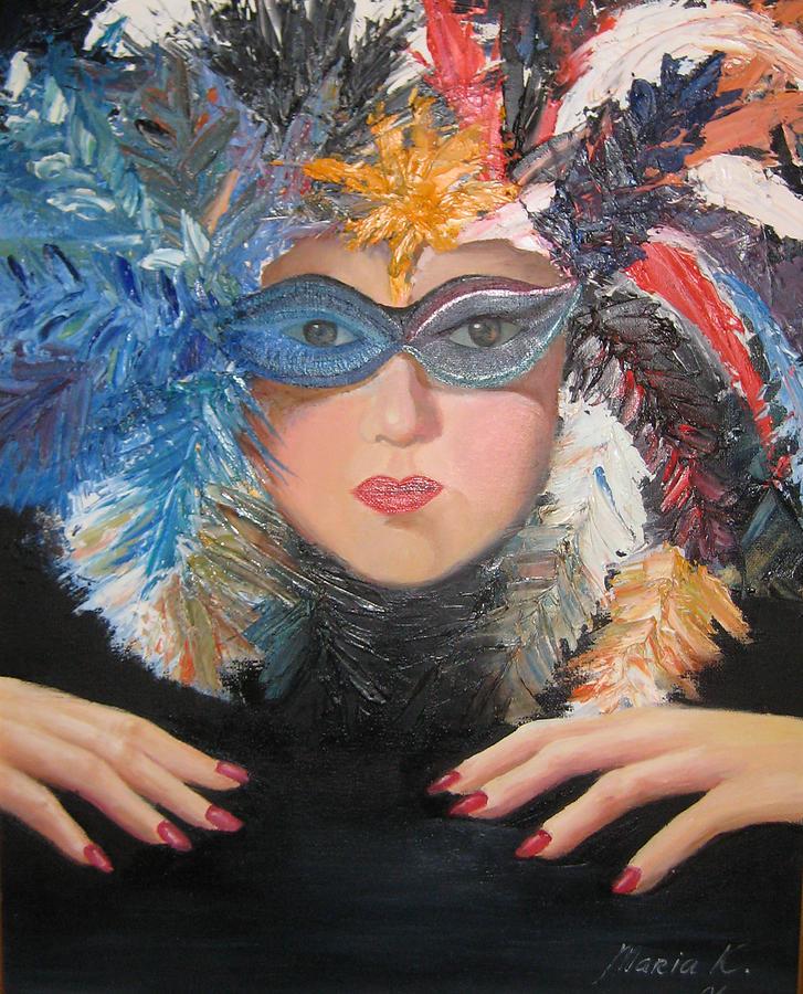 Lady At A Carvinal  Painting by Maria Kobalyan