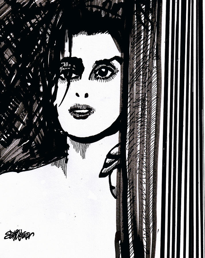 Expectations Drawing - Lady At The Door by Seth Weaver