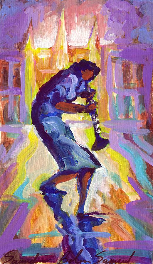 Blue Painting - Lady Blue Plays Clarenet At The Saint Louis Cathedral by Saundra Bolen Samuel