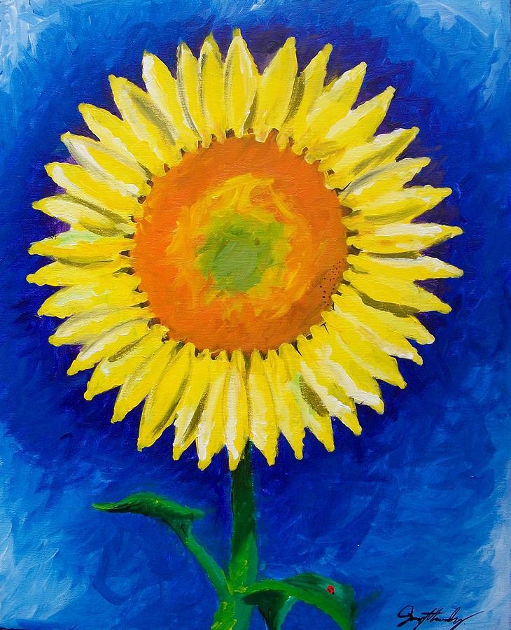 Flower Painting - Lady Bug by Sammy Hernandez