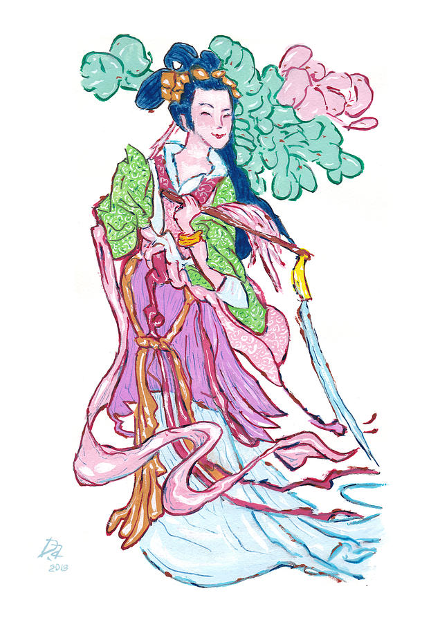 Taoism Painting - Lady He of the Eight Immortals by Dave Alber