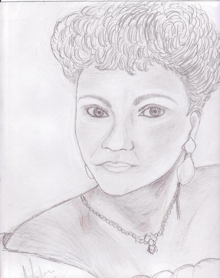 Elegant Lady Drawing - Lady by Helen Vanterpool