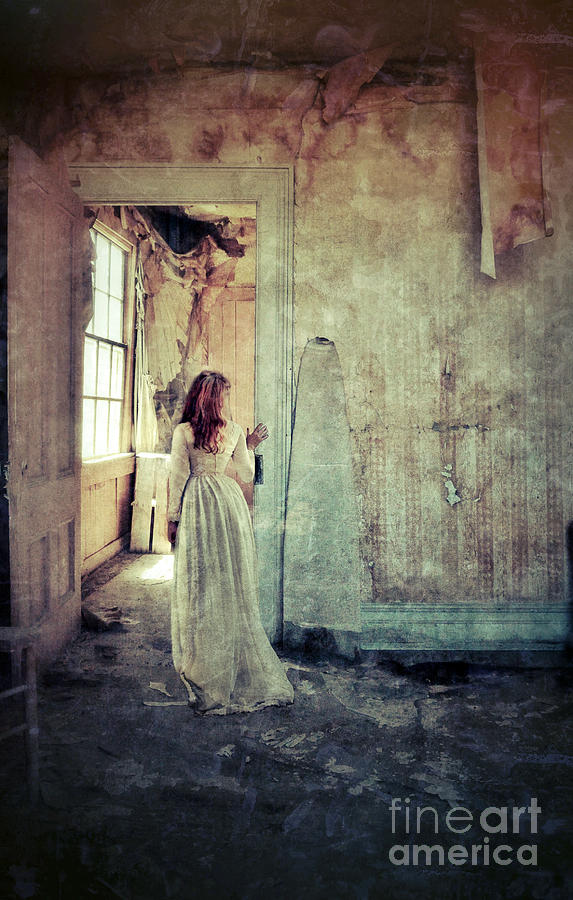 Room Photograph - Lady In An Old Abandoned House by Jill Battaglia