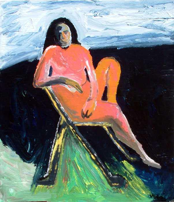 Lady In Chair Painting by Kenneth Vella