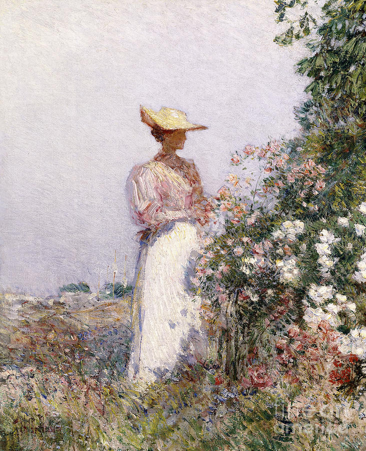 Childe Painting - Lady In Flower Garden by Childe Hassam