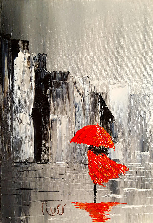 Lady in red dress and a red umbrella walking alone through for Painting red umbrella