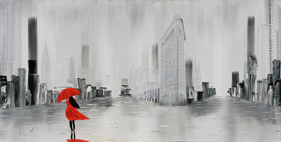 Lady in Red Dress and Red Umbrella Walking Alone through a New Y by Russell Collins
