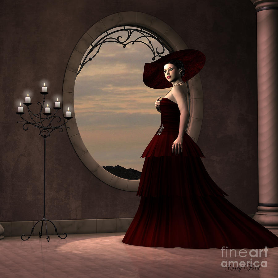 Dress Painting - Lady In Red Dress by Corey Ford